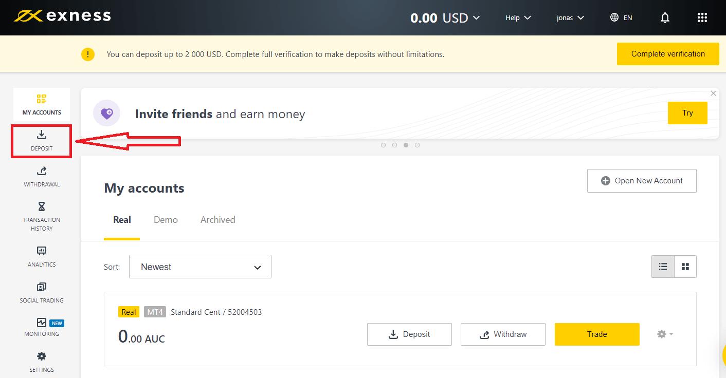 Exnessでサインアップしてお金を入金する方法